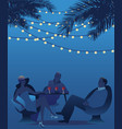 group three drinking red wine under palms vector image