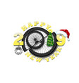 happy new year 2019 and bicycle wheel vector image