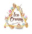 ice cream hand drawn vintage menu design vector image vector image