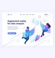 isometric concept young people use augmented real vector image