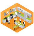 isometric italian restaurant kitchen concept vector image vector image