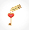 key with welcome tag vector image vector image
