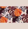 leopard monstera leaf seamless pattern background vector image