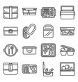 lunchbox icon set outline style vector image