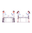 male and female scientist in chemical experiments vector image vector image