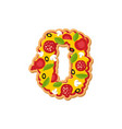 number 0 pizza font italian meal alphabet numeral vector image vector image