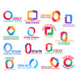 o letter corporate identity business icons vector image