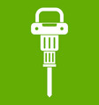 pneumatic hammer icon green vector image vector image