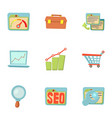 promotion icons set cartoon style vector image