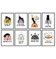 rainbows and cats nursery posters collection wall vector image vector image