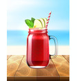 realistic smoothie glass jar watermelon vector image