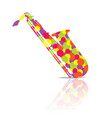 saxophone music instrument colorful and white vector image vector image