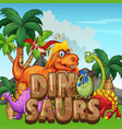 scene with dinosaurs in park vector image vector image