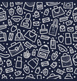 seamless pattern of bags in doodle style vector image vector image