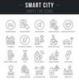 set line icons smart city vector image