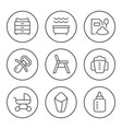 set round line icons bagoods vector image vector image
