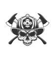 skull without jaw in fireman helmet vector image vector image