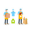 specialist shipping department branded clothing vector image vector image
