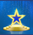 star podium lamps blue light background vector image