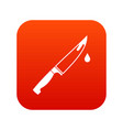 steel knife icon digital red vector image vector image