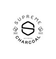 supreme charcoal guarantee logo with charcoal icon vector image vector image