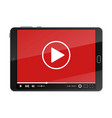 tablet pc with video player on screen vector image vector image