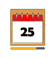 The Twenty-five days on the calendar vector image vector image