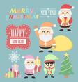 three santa claus vintage with elf elements set vector image vector image