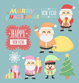 Three santa claus vntage with elf elements set vector image vector image