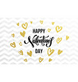 valentine day gold love heart glitter greeting vector image