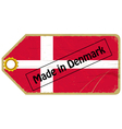 Vintage label with the flag of Denmark vector image