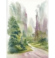 Watercolor summer rural landscape vector image vector image