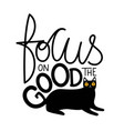 with big yellow eyes black cat and lettering vector image vector image