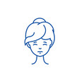 woman face front line icon concept woman face vector image vector image