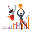 women with award and charts success at work vector image