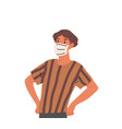 young guy in face mask isolated on white vector image vector image