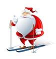 happy santa claus on ski vector image