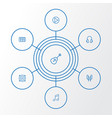 audio outline icons set collection of circle vector image