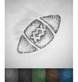 ball football icon Hand drawn vector image vector image