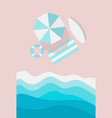 beach top view vertical banner beach umbrella vector image