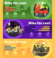 bike for rent banner set in flat design vector image