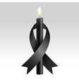 black ribbon black candles mourning vector image