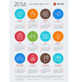 Calendar 2016 decign template Week starts Sunday vector image