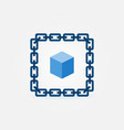 chain with blue cube icon - blockchain vector image