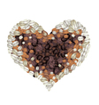 Coffee Beans Forming in A Heart Shape vector image vector image
