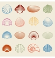 Colorful sea shells silhouettes set vector image vector image