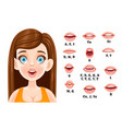 cute brunette woman talking mouth animation vector image