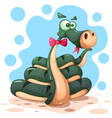 cute funny crazy snake characters with bow vector image