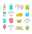 dairy icons colored set vector image vector image
