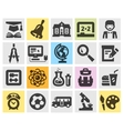 education school set black icons signs and vector image